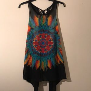 Anthropologie sheer colorful tunic OS